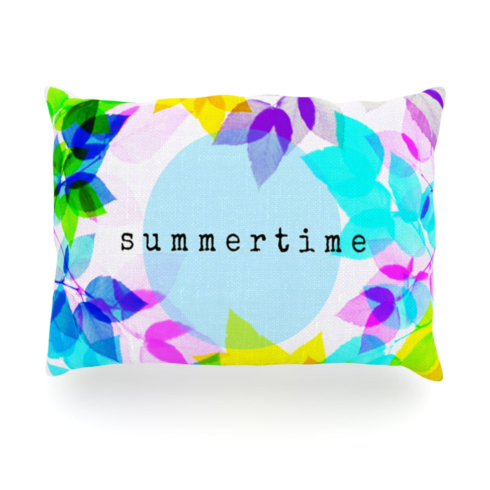 "Sreetama Ray ""Seasons Summer"" Rainbow Leaves Oblong Pillow - KESS InHouse"