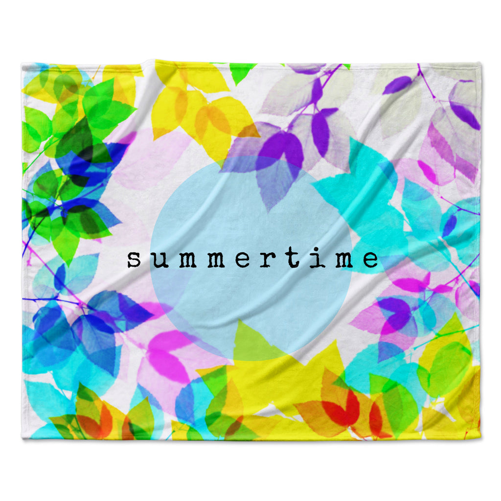 "Sreetama Ray ""Seasons Summer"" Rainbow Leaves Fleece Throw Blanket"
