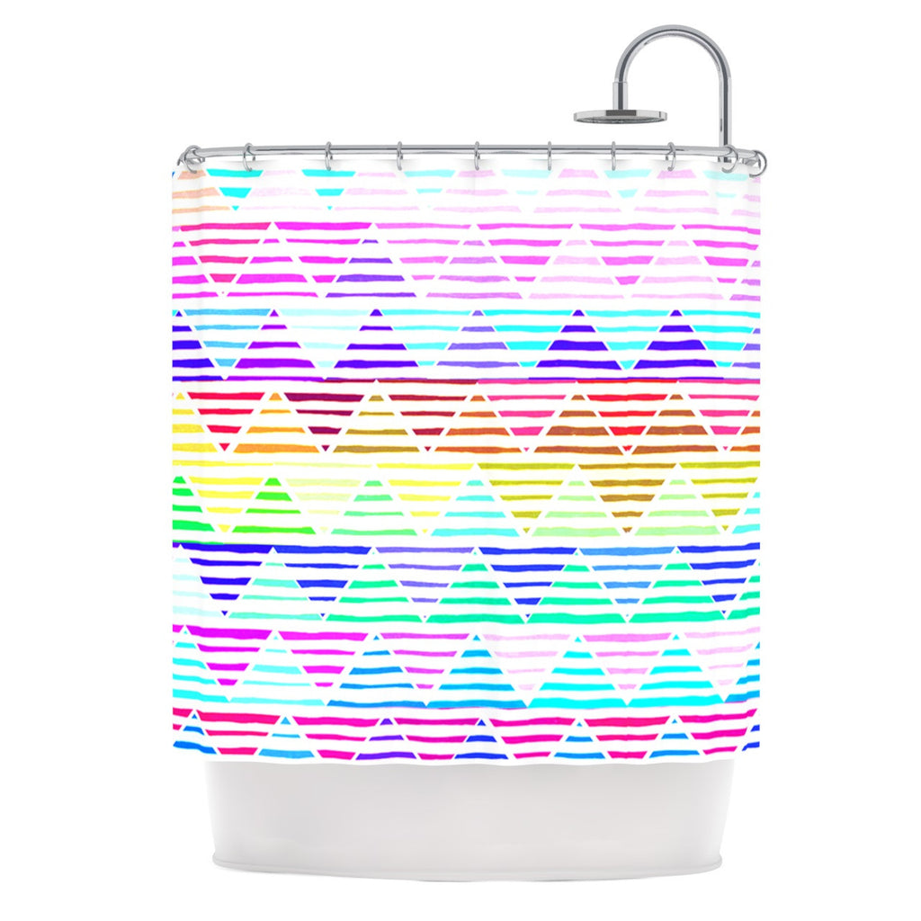 "Sreetama Ray ""Stripes Cushion"" Rainbow Chevron Shower Curtain - KESS InHouse"