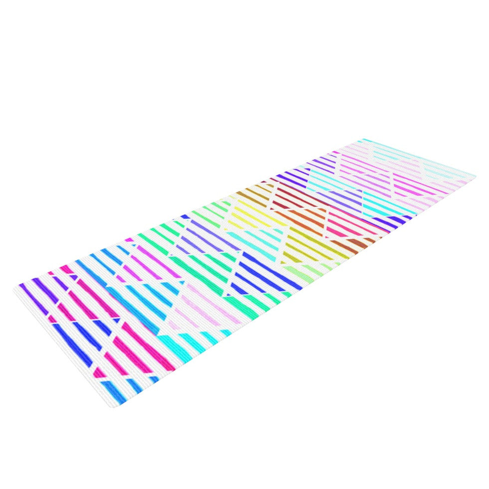 "Sreetama Ray ""Stripes Cushion"" Rainbow Chevron Yoga Mat - KESS InHouse  - 1"