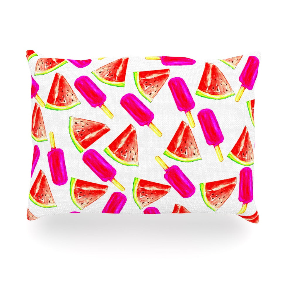 "Sreetama Ray ""Strawberry & Watermelon"" Pink Red Oblong Pillow - KESS InHouse"