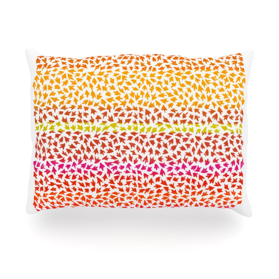 "Sreetama Ray ""Sunset Arrows"" Red Abstract Oblong Pillow - KESS InHouse"