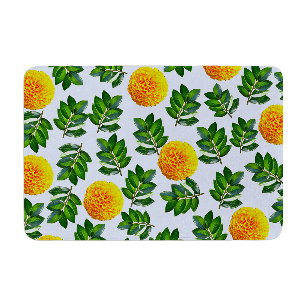 "Sreetama Ray ""More Marigold"" Green Blue Memory Foam Bath Mat - KESS InHouse"