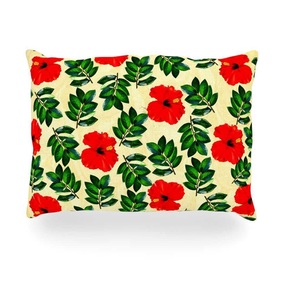 "Sreetama Ray ""No More Peonies"" Red Green Oblong Pillow - KESS InHouse"