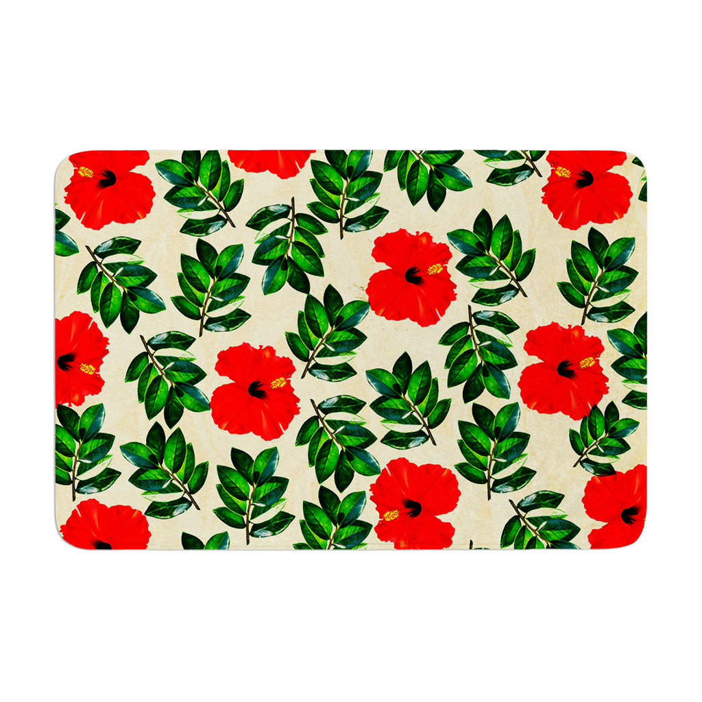 "Sreetama Ray ""No More Peonies"" Red Green Memory Foam Bath Mat - KESS InHouse"