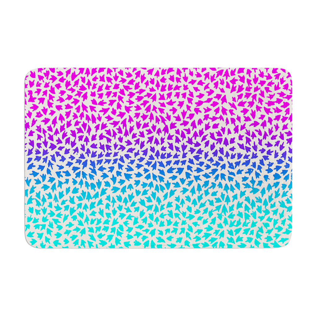 "Sreetama Ray ""Ombre Arrows"" Blue Pink Memory Foam Bath Mat - KESS InHouse"