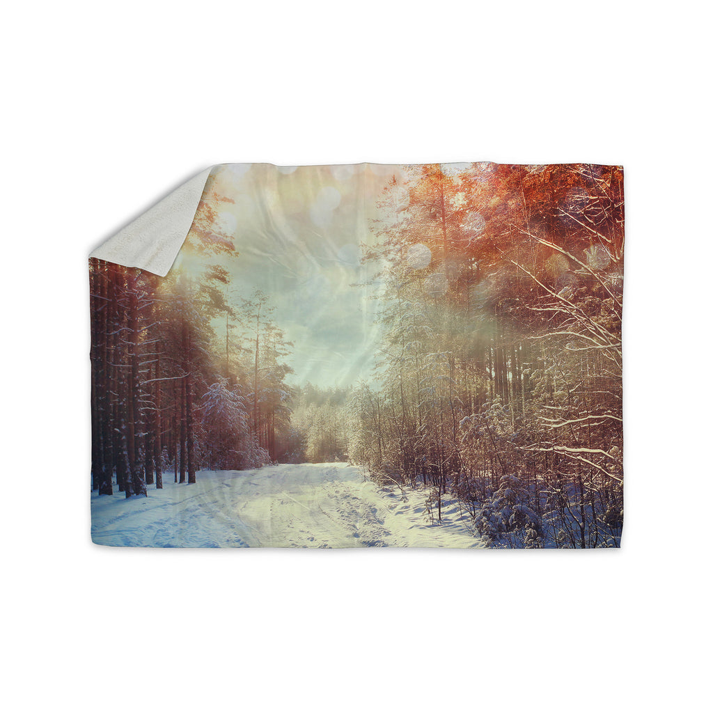"Snap Studio ""Winter Walkway"" Snowy Sherpa Blanket - KESS InHouse  - 1"