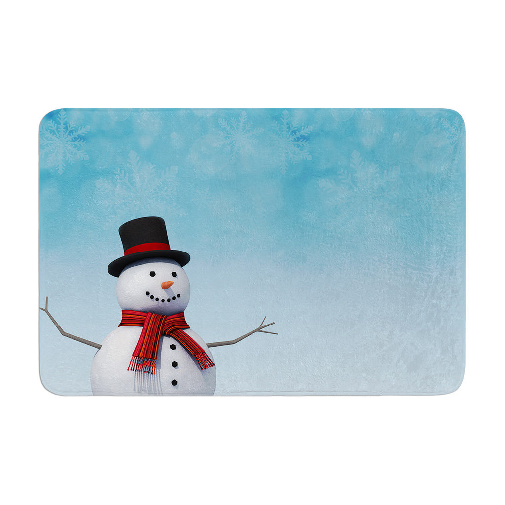 "Snap Studio ""Feelin' Frosty"" Blue White Memory Foam Bath Mat - KESS InHouse"