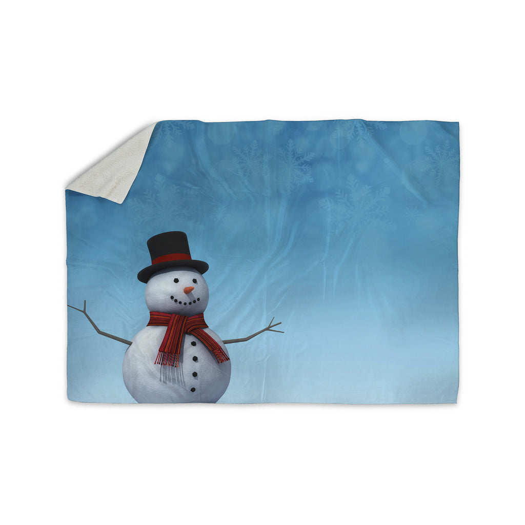 "Snap Studio ""Feelin' Frosty"" Blue White Sherpa Blanket - KESS InHouse  - 1"