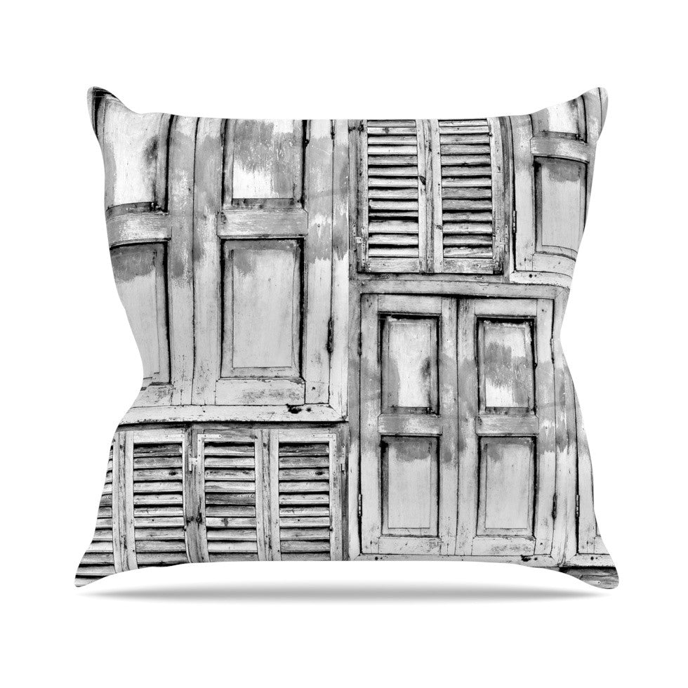"Snap Studio ""Close the Door"" Gray Throw Pillow - KESS InHouse  - 1"