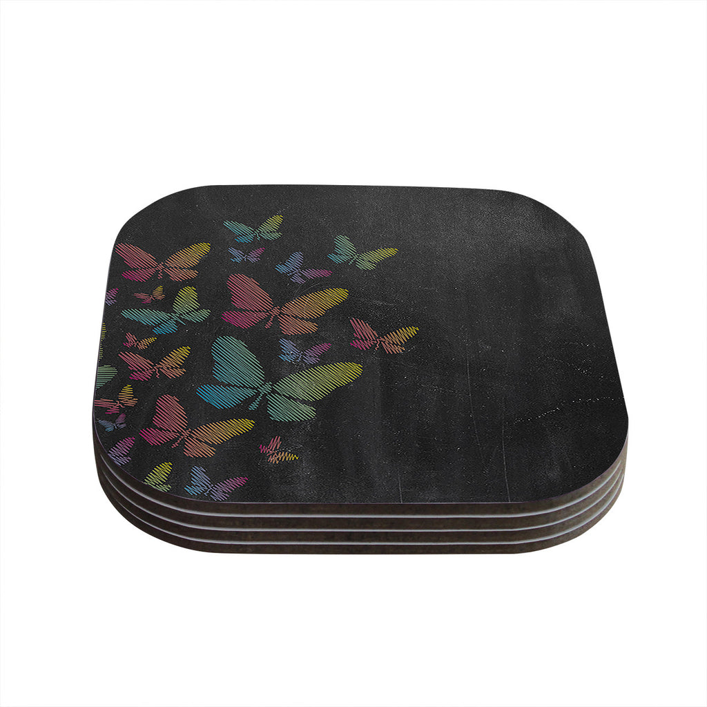"Snap Studio ""Butterflies"" Pastel Chalk Coasters (Set of 4)"