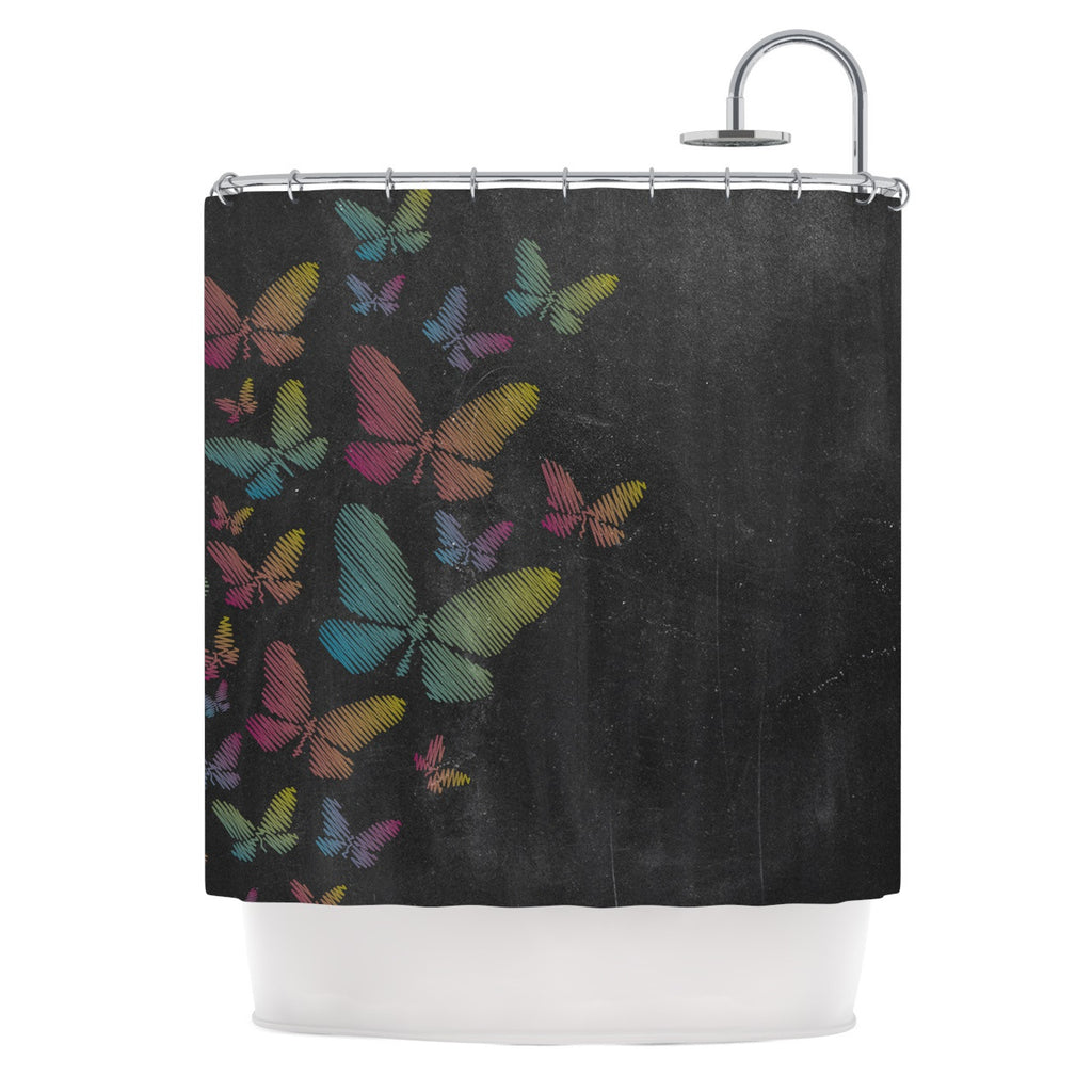 "Snap Studio ""Butterflies"" Pastel Chalk Shower Curtain - KESS InHouse"