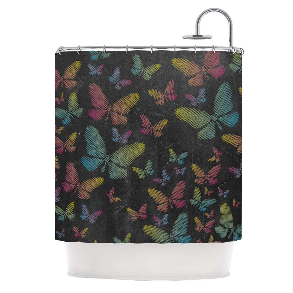 "Snap Studio ""Butterflies II"" Pastel Chalk Shower Curtain - KESS InHouse"