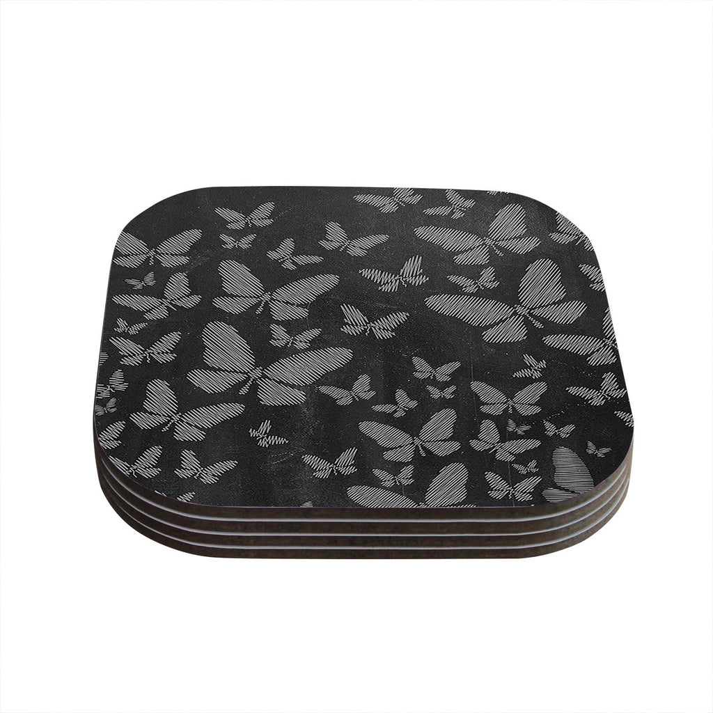 "Snap Studio ""Butterflies III"" White Chalk Coasters (Set of 4)"
