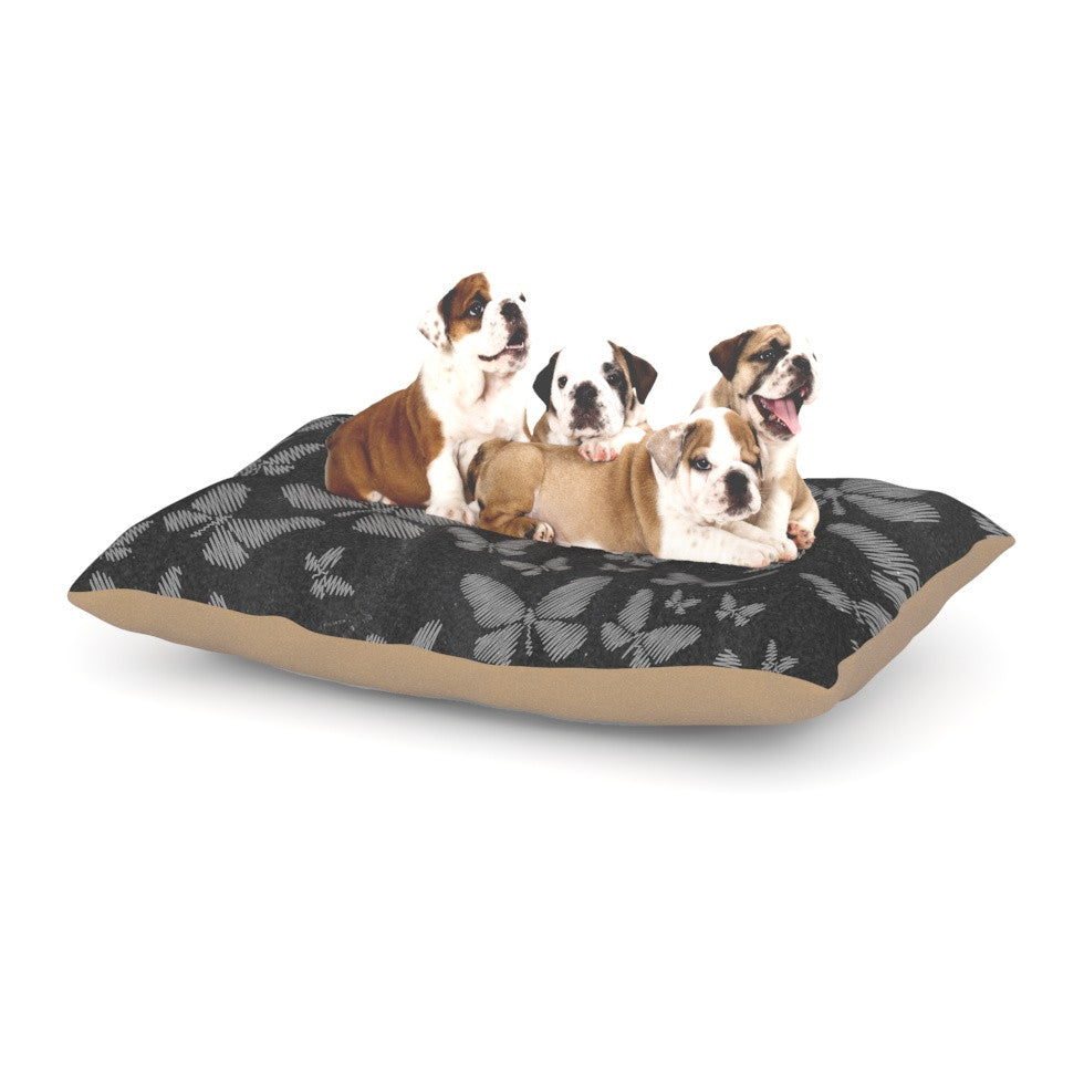 "Snap Studio ""Butterflies III"" White Chalk Dog Bed - KESS InHouse  - 1"