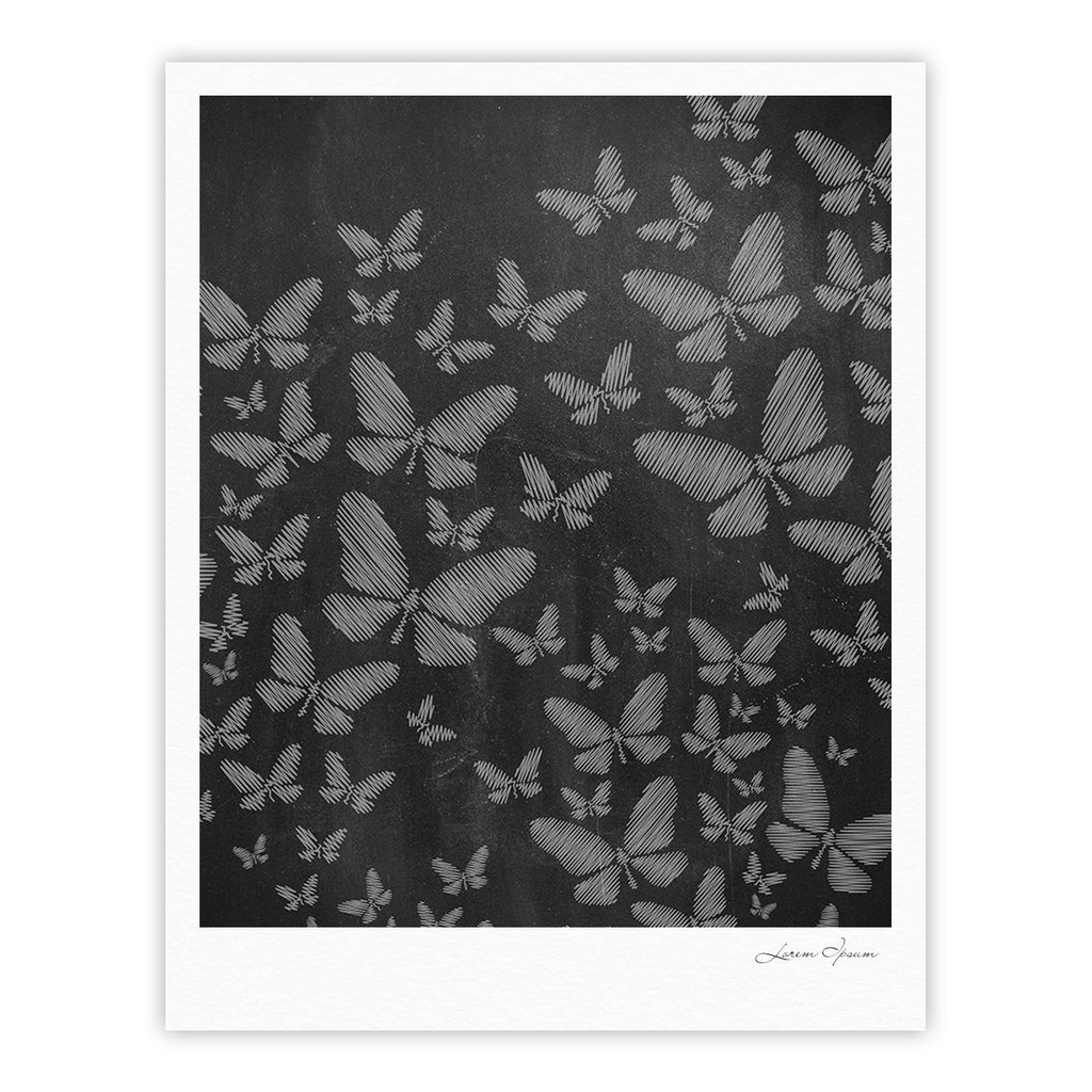"Snap Studio ""Butterflies III"" White Chalk Fine Art Gallery Print - KESS InHouse"