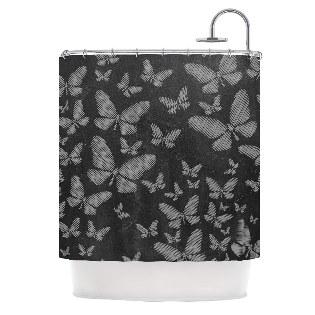 "Snap Studio ""Butterflies III"" White Chalk Shower Curtain - KESS InHouse"