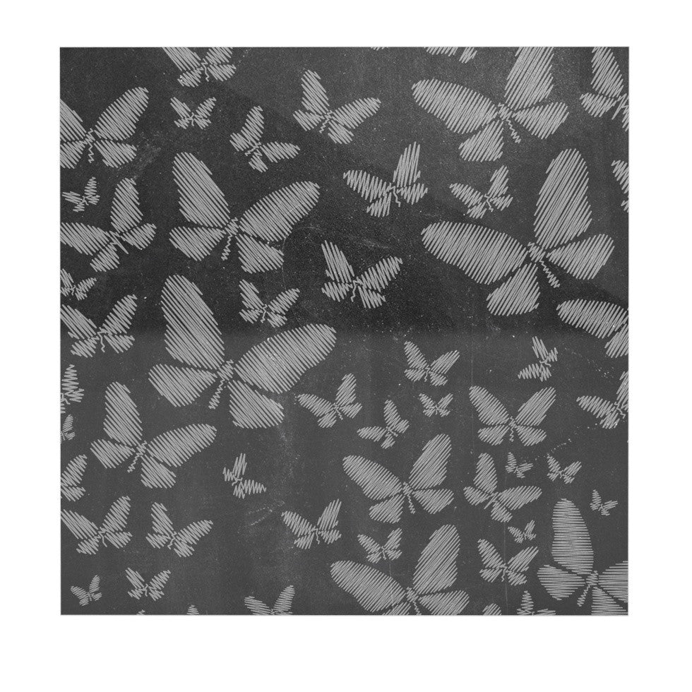 "Snap Studio ""Butterflies III"" White Chalk Luxe Square Panel - KESS InHouse  - 1"
