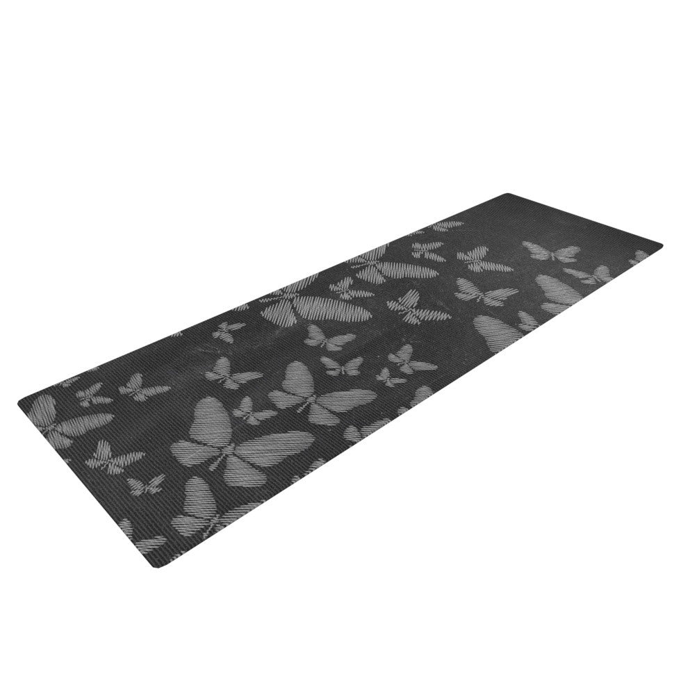 "Snap Studio ""Butterflies III"" White Chalk Yoga Mat - KESS InHouse  - 1"