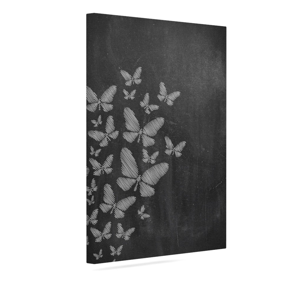 "Snap Studio ""Butterflies IV"" White Chalk Canvas Art - KESS InHouse  - 1"
