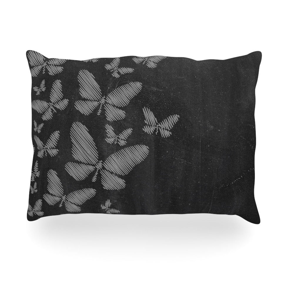 "Snap Studio ""Butterflies IV"" White Chalk Oblong Pillow - KESS InHouse"