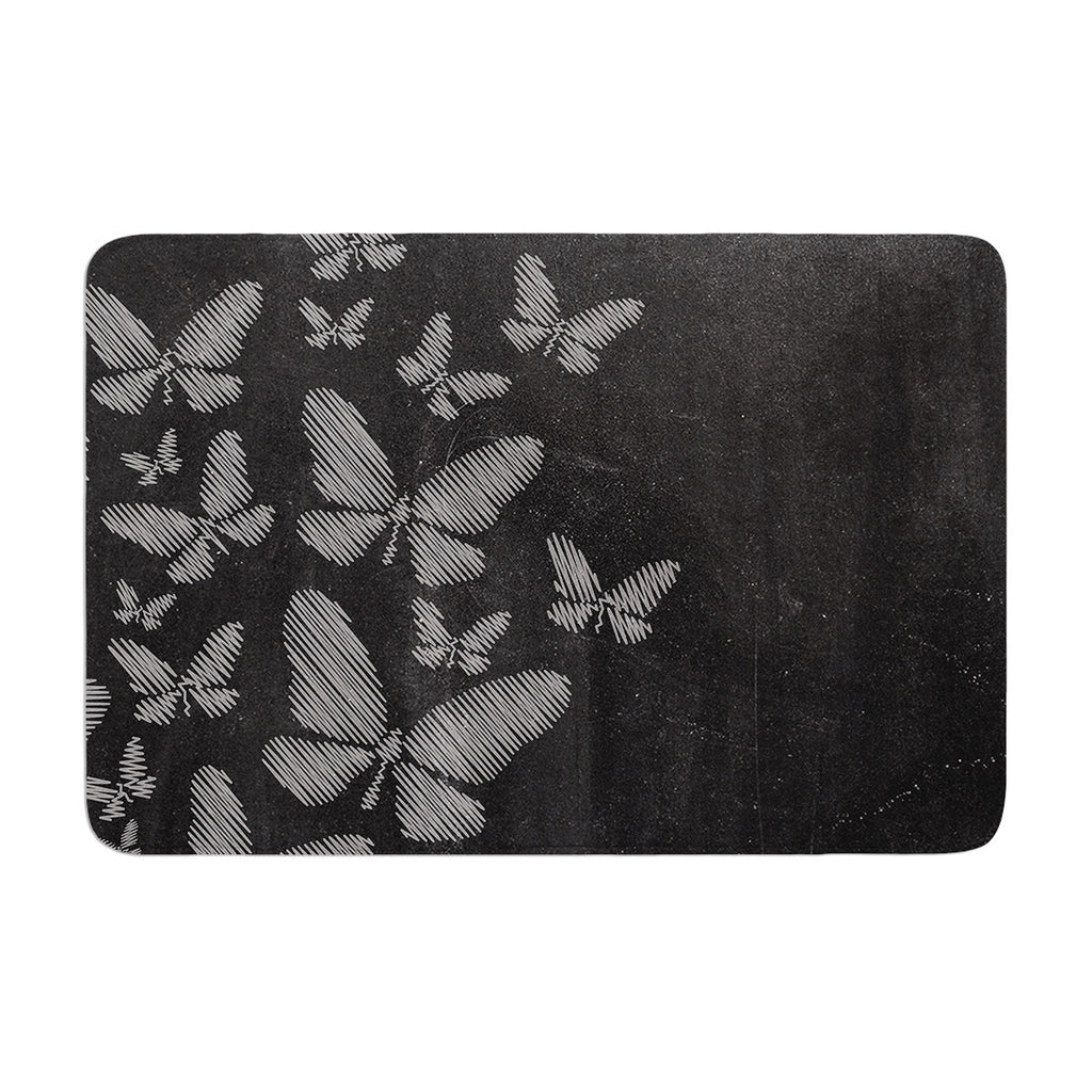 "Snap Studio ""Butterflies IV"" White Chalk Memory Foam Bath Mat - KESS InHouse"