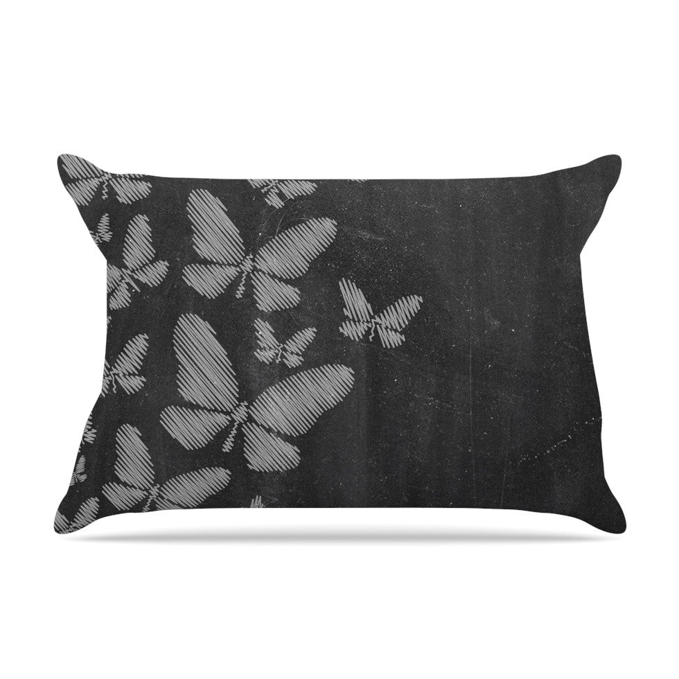 "Snap Studio ""Butterflies IV"" White Chalk Pillow Sham - KESS InHouse"