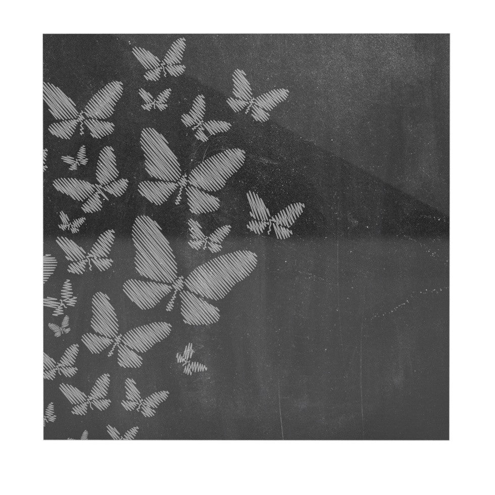"Snap Studio ""Butterflies IV"" White Chalk Luxe Square Panel - KESS InHouse  - 1"