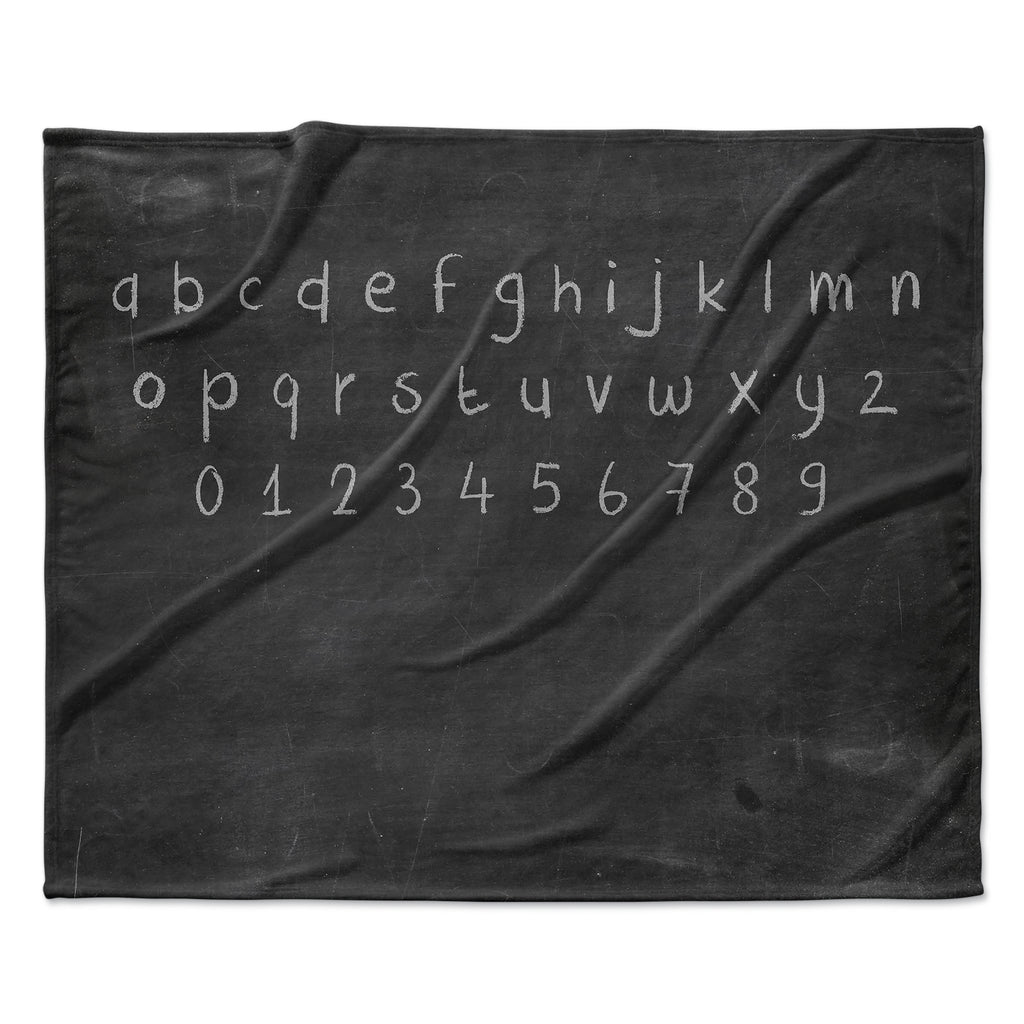 "Snap Studio ""ABC"" Gray Black Fleece Throw Blanket"