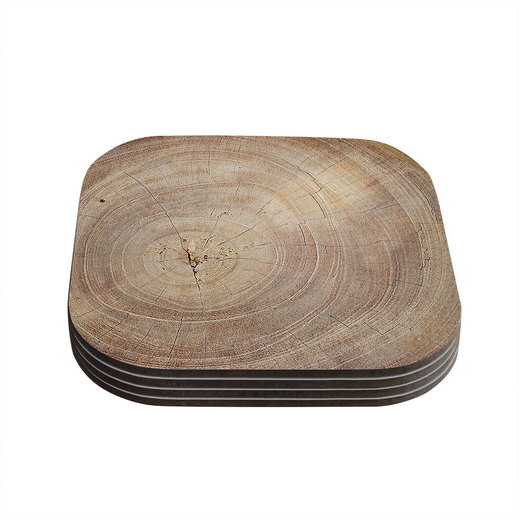 "Susan Sanders ""Aging Tree"" Wooden Coasters (Set of 4)"