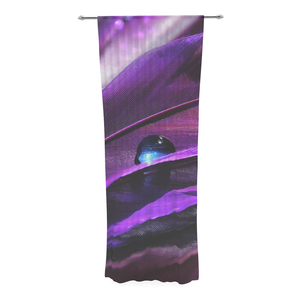 "Susan Sanders ""Birds of a Feather"" Nature Purple Decorative Sheer Curtain - KESS InHouse  - 1"