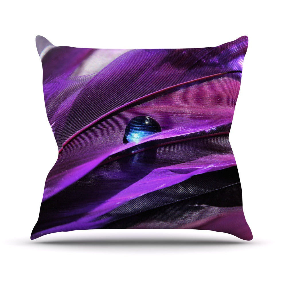 "Susan Sanders ""Birds of a Feather"" Nature Purple Throw Pillow - KESS InHouse  - 1"