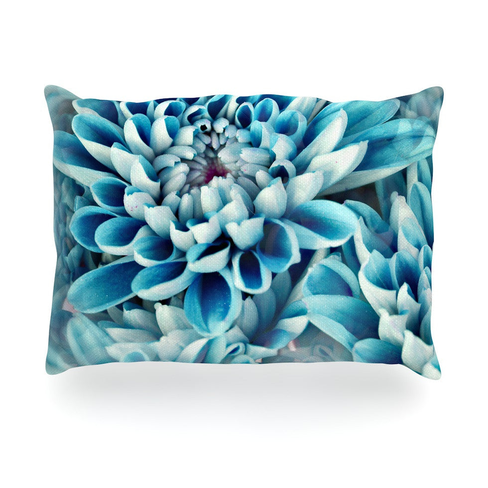 "Susan Sanders ""Floral Paradise"" Blue Flower Oblong Pillow - KESS InHouse"