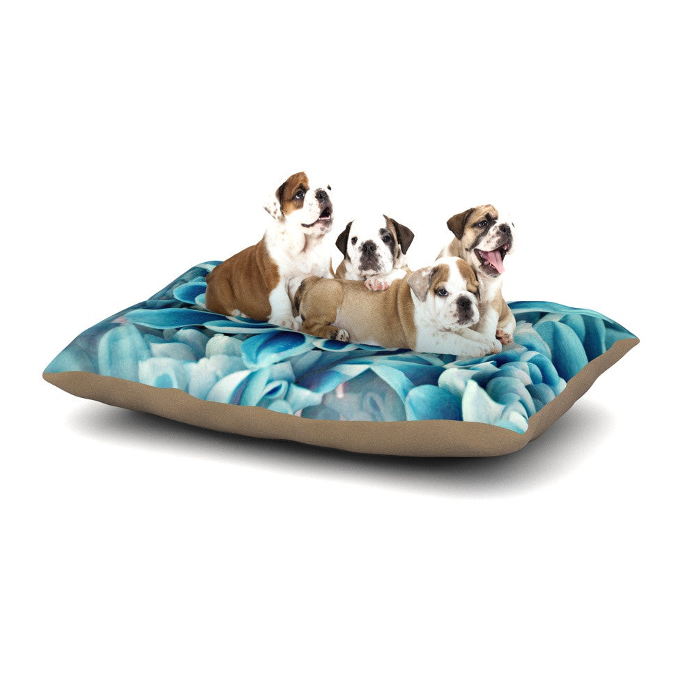 "Susan Sanders ""Floral Paradise"" Blue Flower Dog Bed - KESS InHouse  - 1"