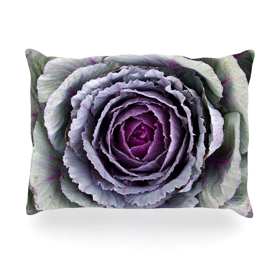 "Susan Sanders ""Flower Love"" Purple Green Oblong Pillow - KESS InHouse"