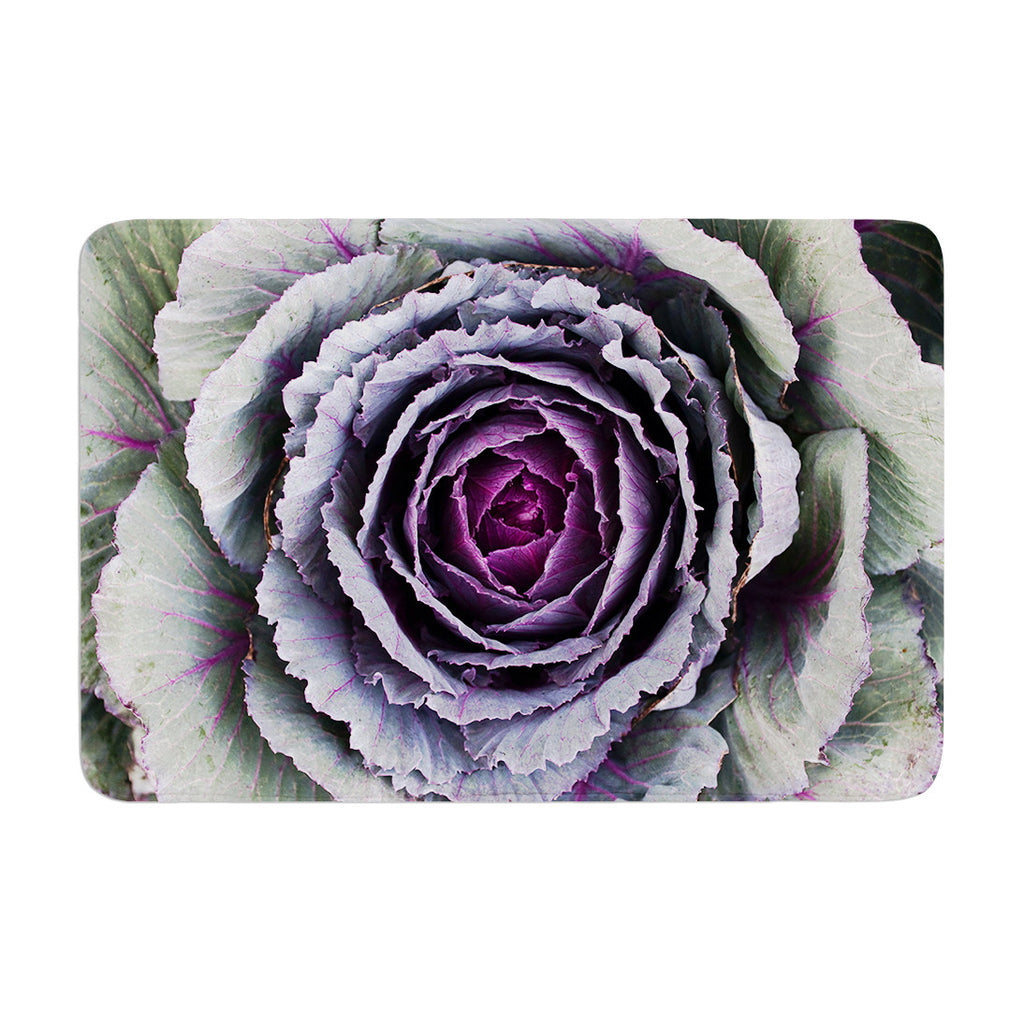 "Susan Sanders ""Flower Love"" Purple Green Memory Foam Bath Mat - KESS InHouse"