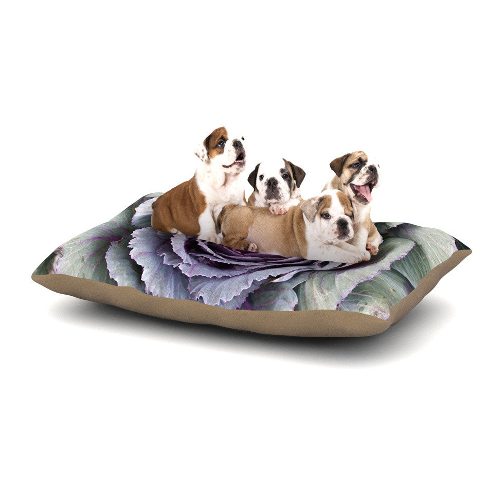 "Susan Sanders ""Flower Love"" Purple Green Dog Bed - KESS InHouse  - 1"