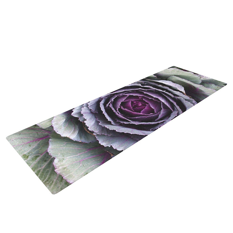 "Susan Sanders ""Flower Love"" Purple Green Yoga Mat - KESS InHouse  - 1"