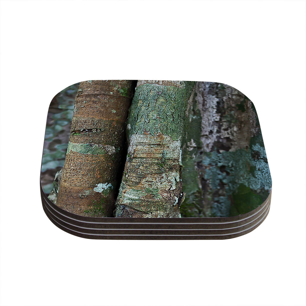 "Susan Sanders ""Into the Woods"" Brown Rustic Coasters (Set of 4)"