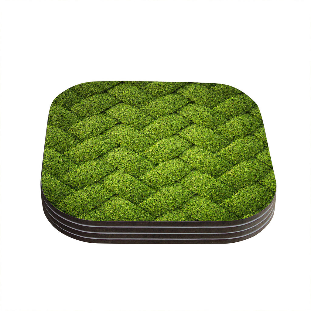"Susan Sanders ""Ivy Basket"" Green Weave Coasters (Set of 4)"