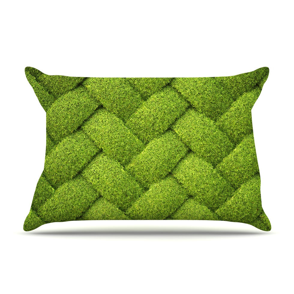 "Susan Sanders ""Ivy Basket"" Green Weave Pillow Sham - KESS InHouse"