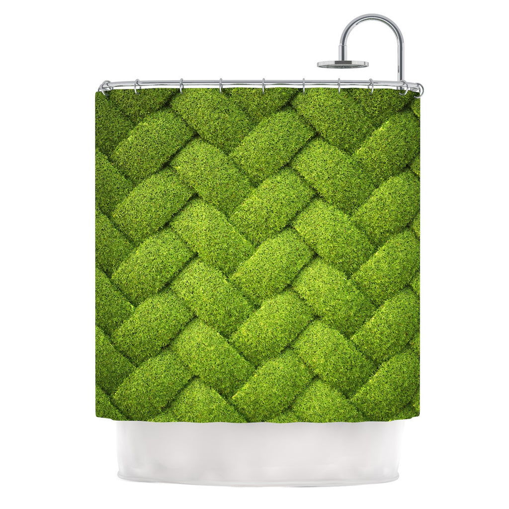 "Susan Sanders ""Ivy Basket"" Green Weave Shower Curtain - KESS InHouse"