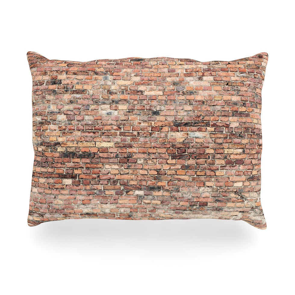 "Susan Sanders ""Rustic Bricks"" Orange Brown Oblong Pillow - KESS InHouse"