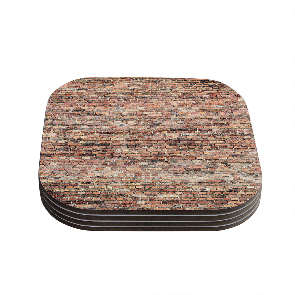 "Susan Sanders ""Rustic Bricks"" Orange Brown Coasters (Set of 4)"