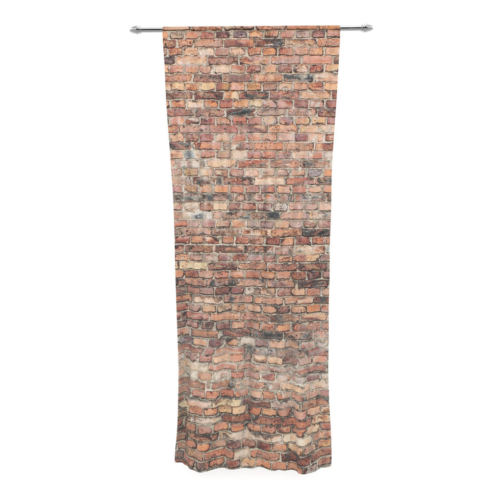 "Susan Sanders ""Rustic Bricks"" Orange Brown Decorative Sheer Curtain - KESS InHouse"