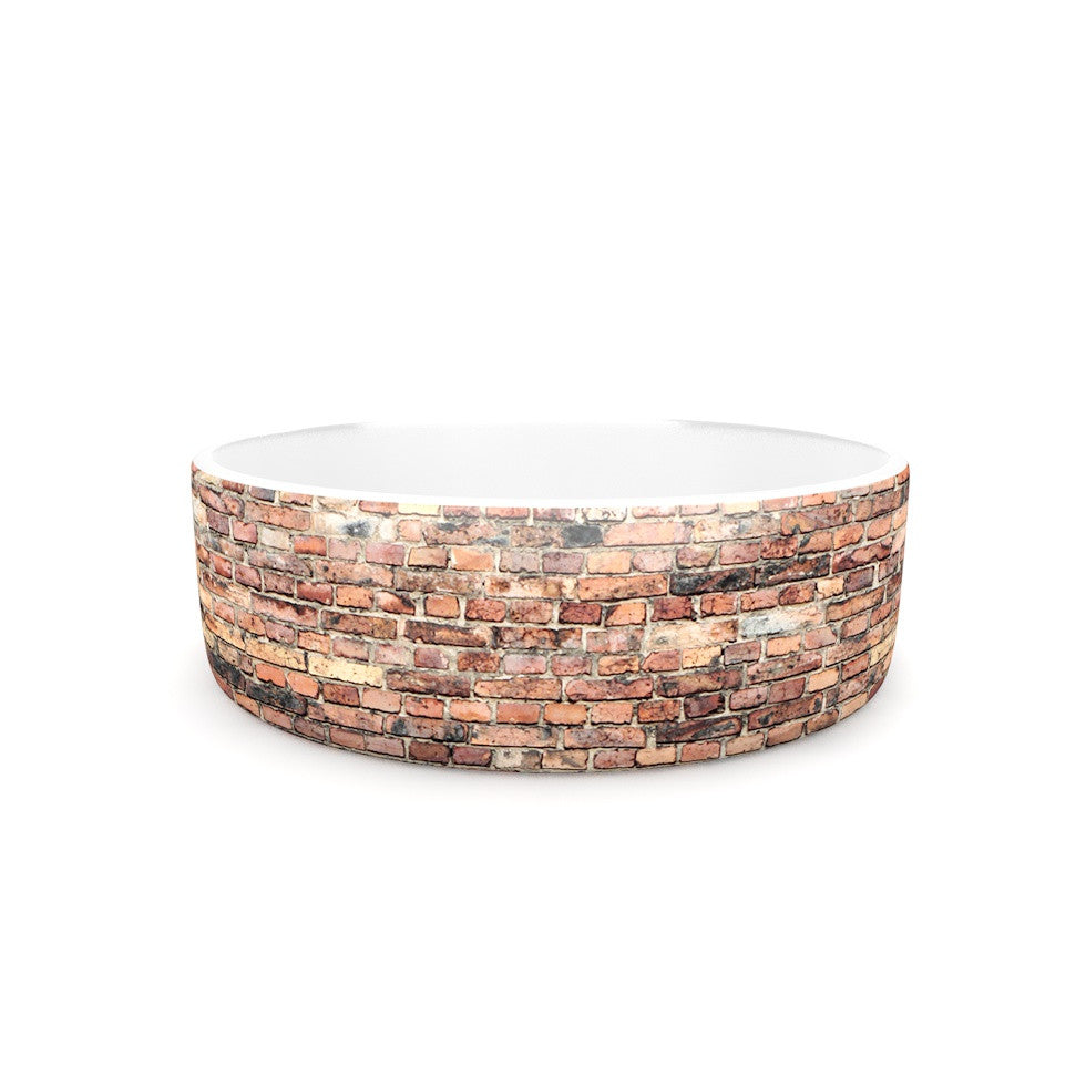 "Susan Sanders ""Rustic Bricks"" Orange Brown Pet Bowl - KESS InHouse"