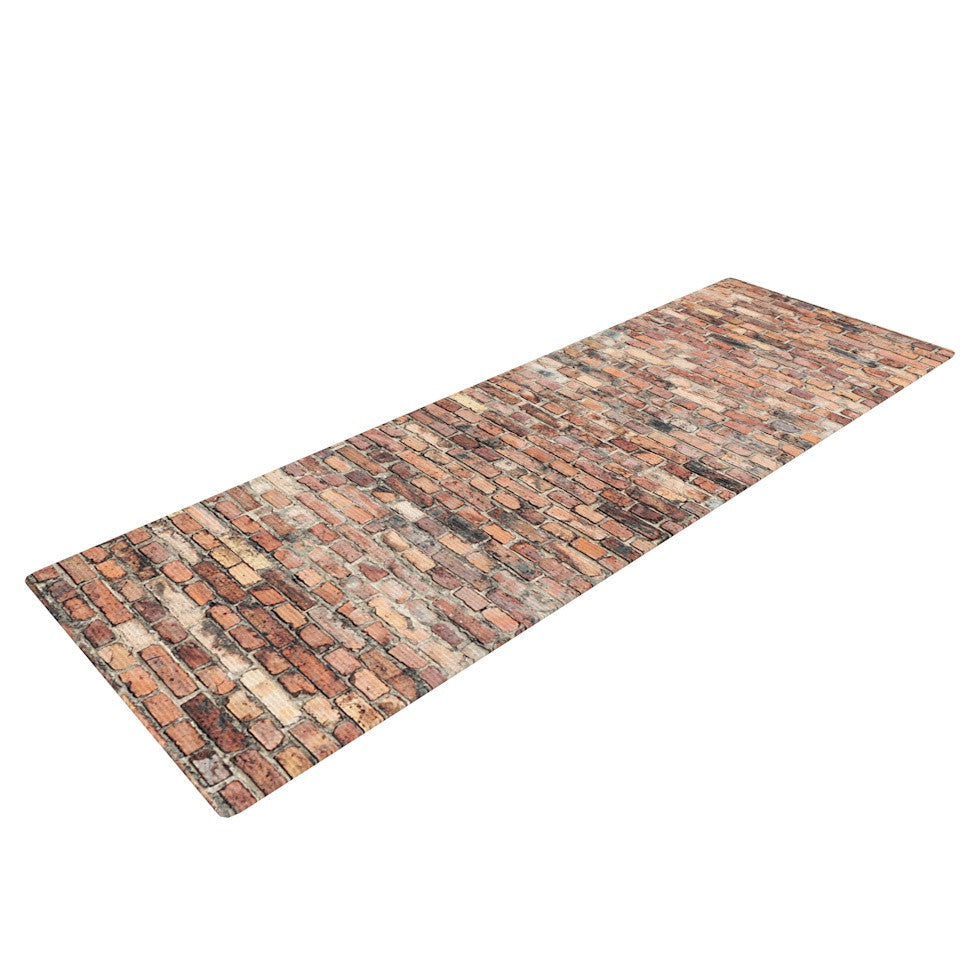 "Susan Sanders ""Rustic Bricks"" Orange Brown Yoga Mat - KESS InHouse"