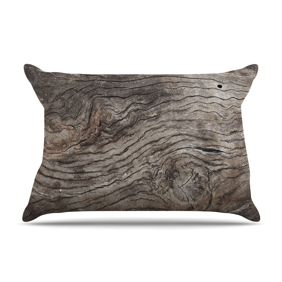 "Susan Sanders ""Tree Bark"" Brown Wooden Pillow Sham - KESS InHouse"
