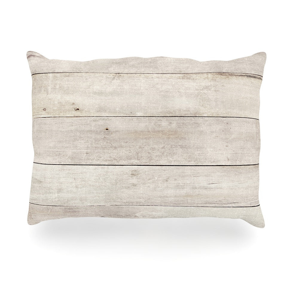 "Susan Sanders ""White Wash Wood"" Beige White Oblong Pillow - KESS InHouse"