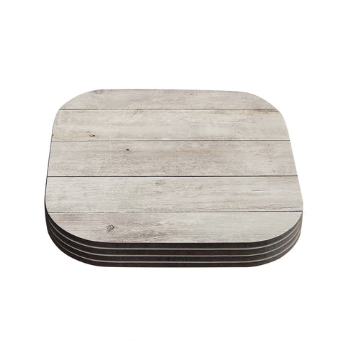 "Susan Sanders ""White Wash Wood"" Beige White Coasters (Set of 4) - Outlet Item"